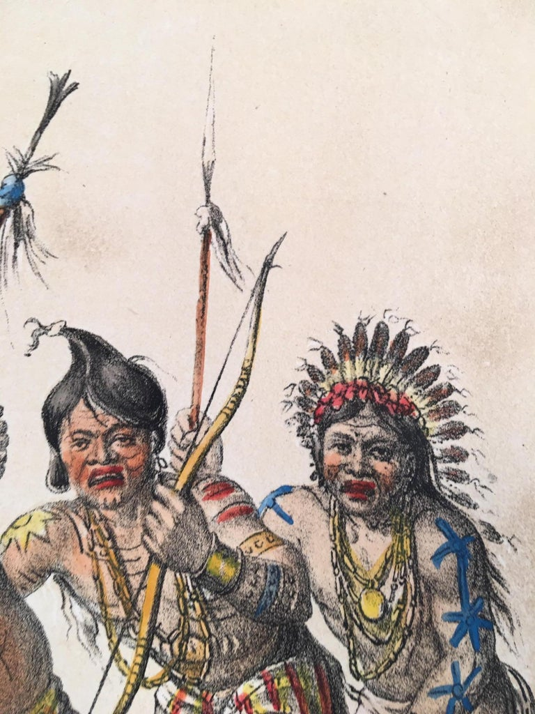 Lithograph  from George Catlin's  North American Indian Portfolio, hand-coloured, by John McGahey, printed by Day & Haghe. Wove paper. Image size: 11 x 16 1/2 inches. From Catlin's  historic