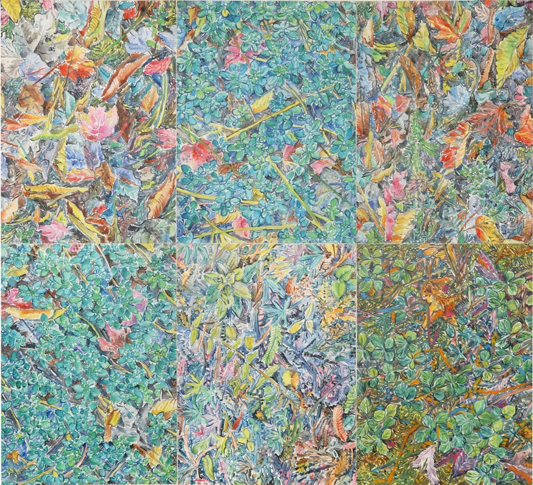 Composed Flower Garden, Large Painting by George Chemeche For Sale 1