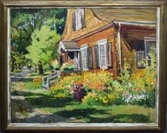 Large Impressionist New England Wild Flower Garden Landscape Oil Painting