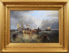 19th Century seascape oil painting of shipping & boats