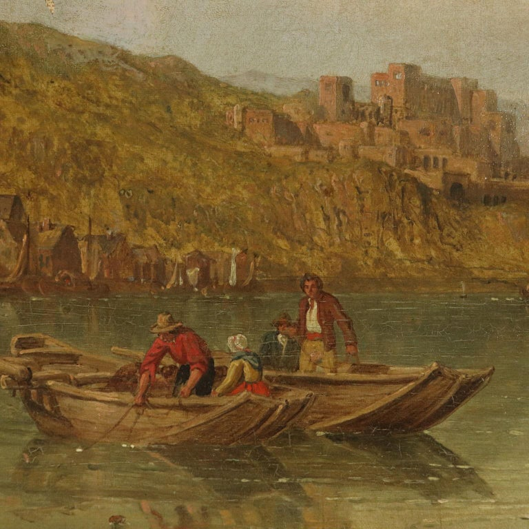 Oil painting on canvas signed in the lower right corner. The English painter George Clarkson Stanfield - specialized in landscapes like his father - stood out particularly for the topographical glimpses of different places he visited in Europe: the