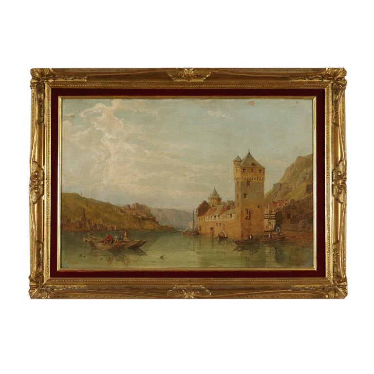 George Clarkson Stanfield Landscape Painting - Landscape by George C. Stanfield St. Goarshausen 19th Century