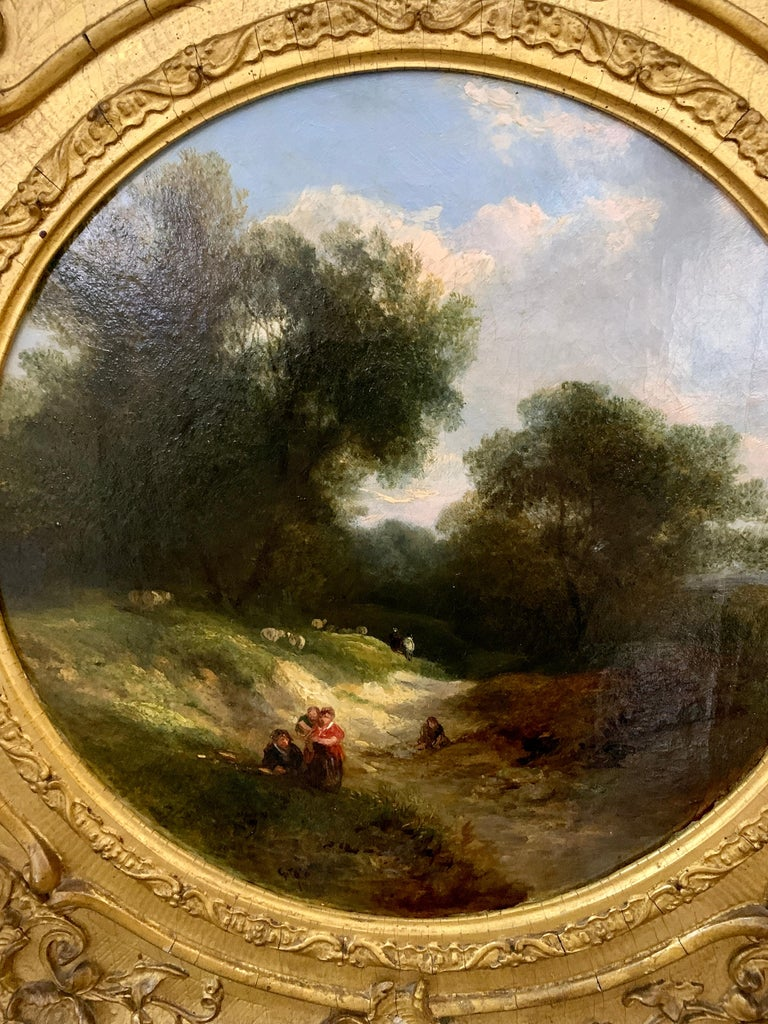 19th century English landscape oil of figures on a path and sheep - Painting by George Cole