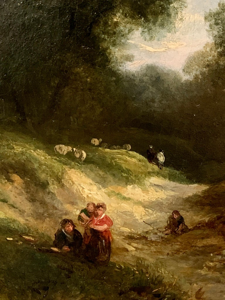 19th century English landscape oil of figures on a path and sheep - Victorian Painting by George Cole