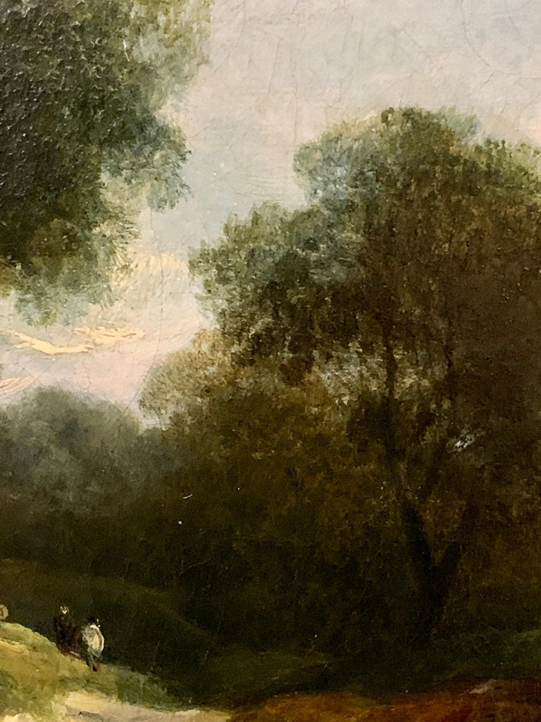 19th century English landscape oil of figures on a path and sheep - Brown Landscape Painting by George Cole