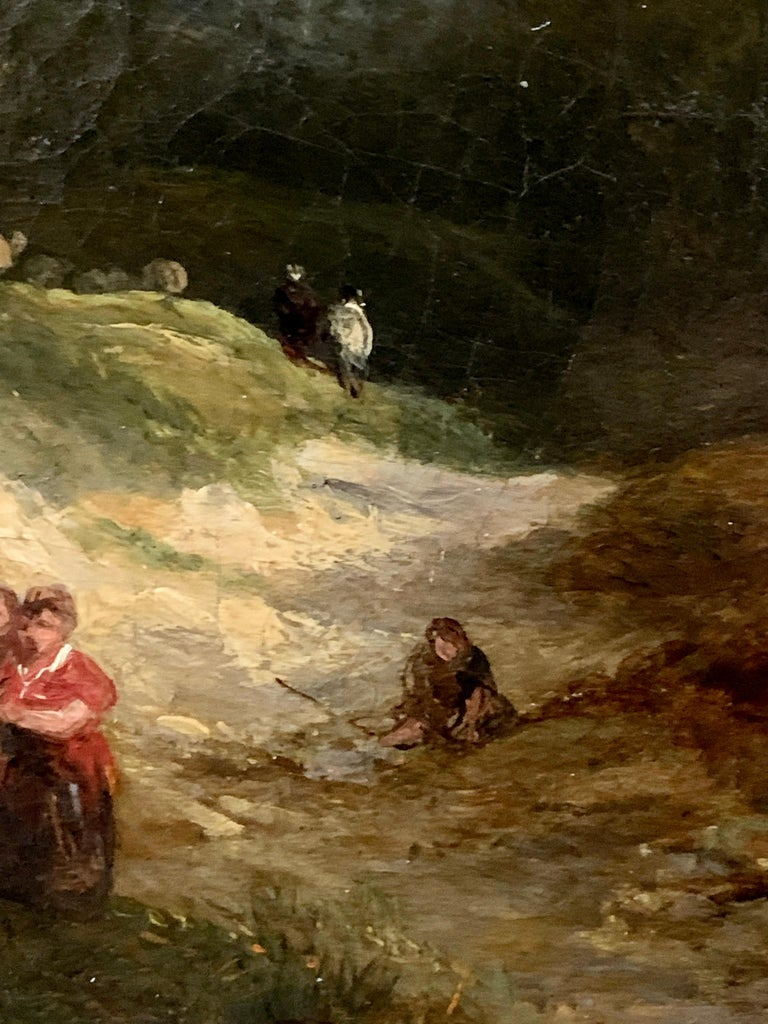 Victorian 19th century English landscape oil of figures on a path and sheep  George Cole was a painter of portraits, landscapes, and animals.  Cole was self-taught and began his career by painting several large canvas advertisements for the