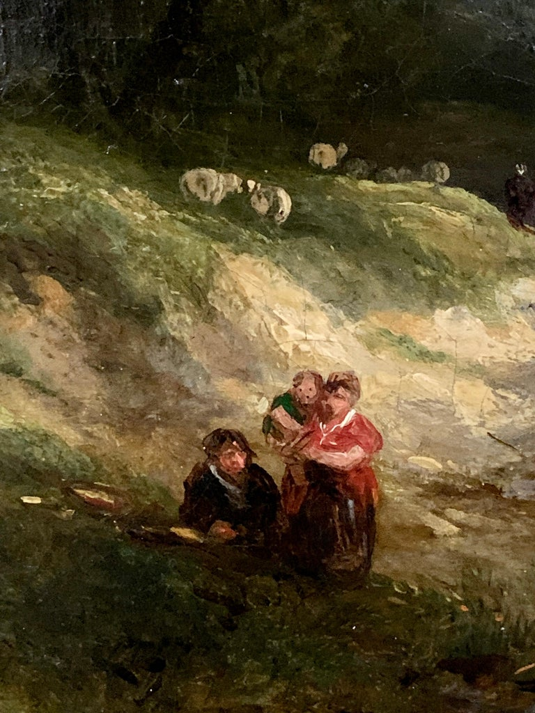 19th century English landscape oil of figures on a path and sheep For Sale 1