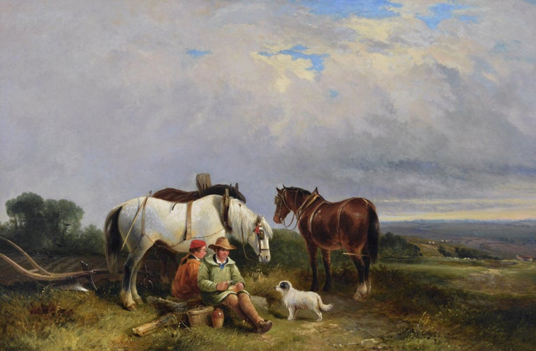 19th Century landscape genre oil painting of ploughmen with horses & a dog - Painting by George Cole