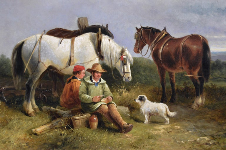 19th Century landscape genre oil painting of ploughmen with horses & a dog - Victorian Painting by George Cole