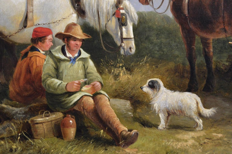 19th Century landscape genre oil painting of ploughmen with horses & a dog - Brown Landscape Painting by George Cole