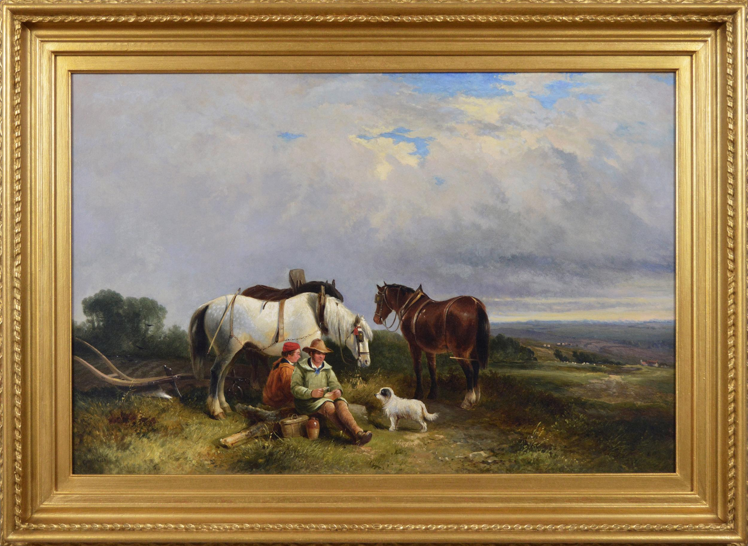 19th Century landscape genre oil painting of ploughmen with horses & a dog