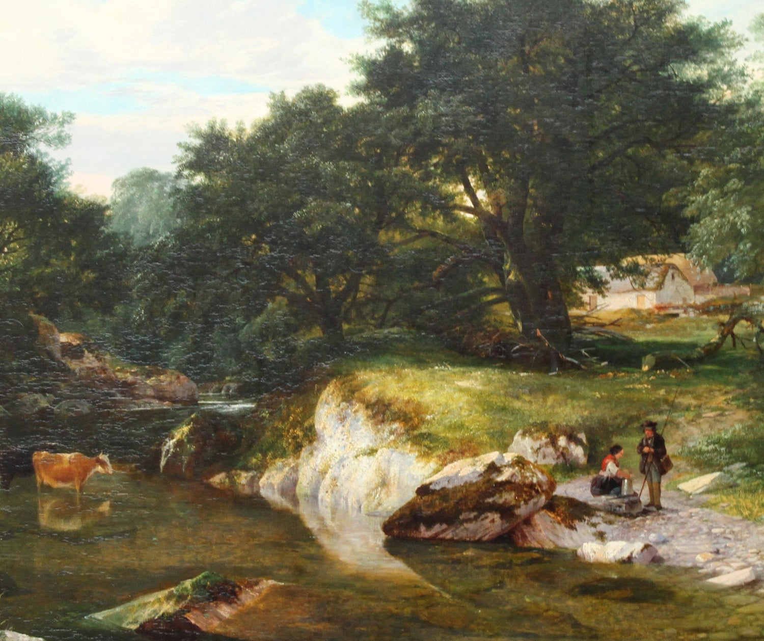 George Cole A Stream In The Forest British Victorian 1859 Art Landscape Oil Painting
