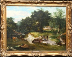 A Stream in the Forest - British Victorian 1859 art landscape oil painting