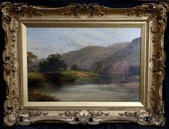 The Fisherman - British Victorian art oil painting panoramic river landscape