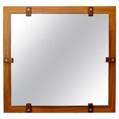 Mid-Century Modern George Coslin Wooden Mirror, Italy