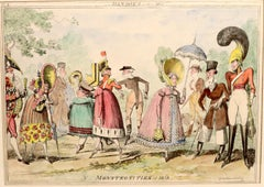 Dandies of 1817 from Monstrosities by Cruikshank hand colored etching 1835