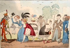 Monstrosities of 1816 Scene Hyde Park hand colored etching urban fashion satire