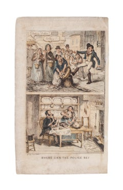 Where can the police be? - Original Etching by George Cruikshank - 19th Century