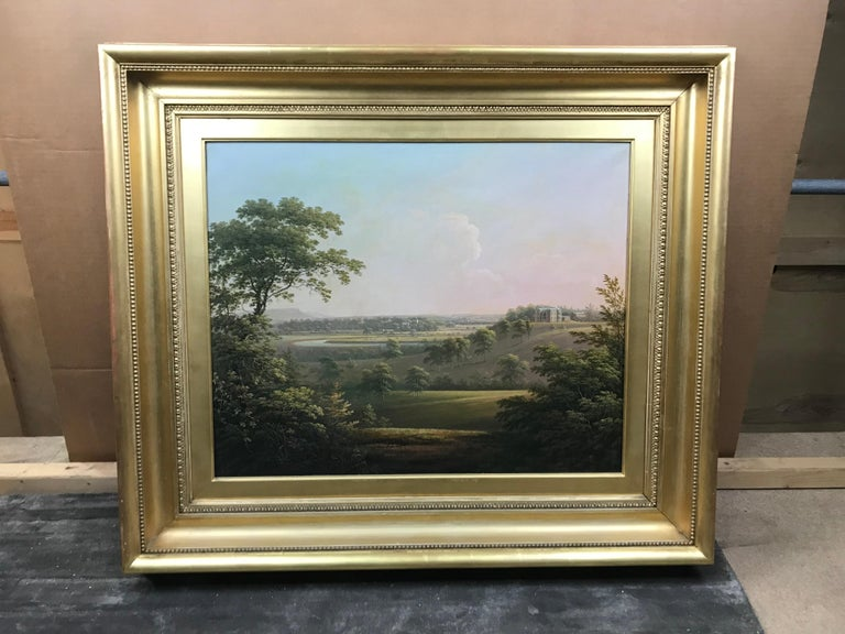 A distant landscape view of Langton Hall in Richmondshire, North Yorkshire - Painting by George Cuitt