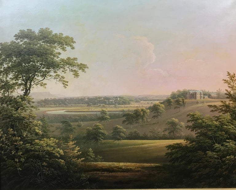 A distant view of Langton Hall in Richmondshire, North Yorkshire Oil painting on canvas 76.2 x 63.5 cm / 30 x 25 in  and contained in its antique caved and gilded frame.   Provenance: private collection Derbyshire until acquired by us.  Painted