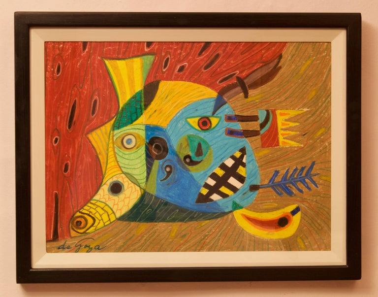 Abstract Face - Mid 20th Century Mixed Media Piece by George De Goya For Sale 2