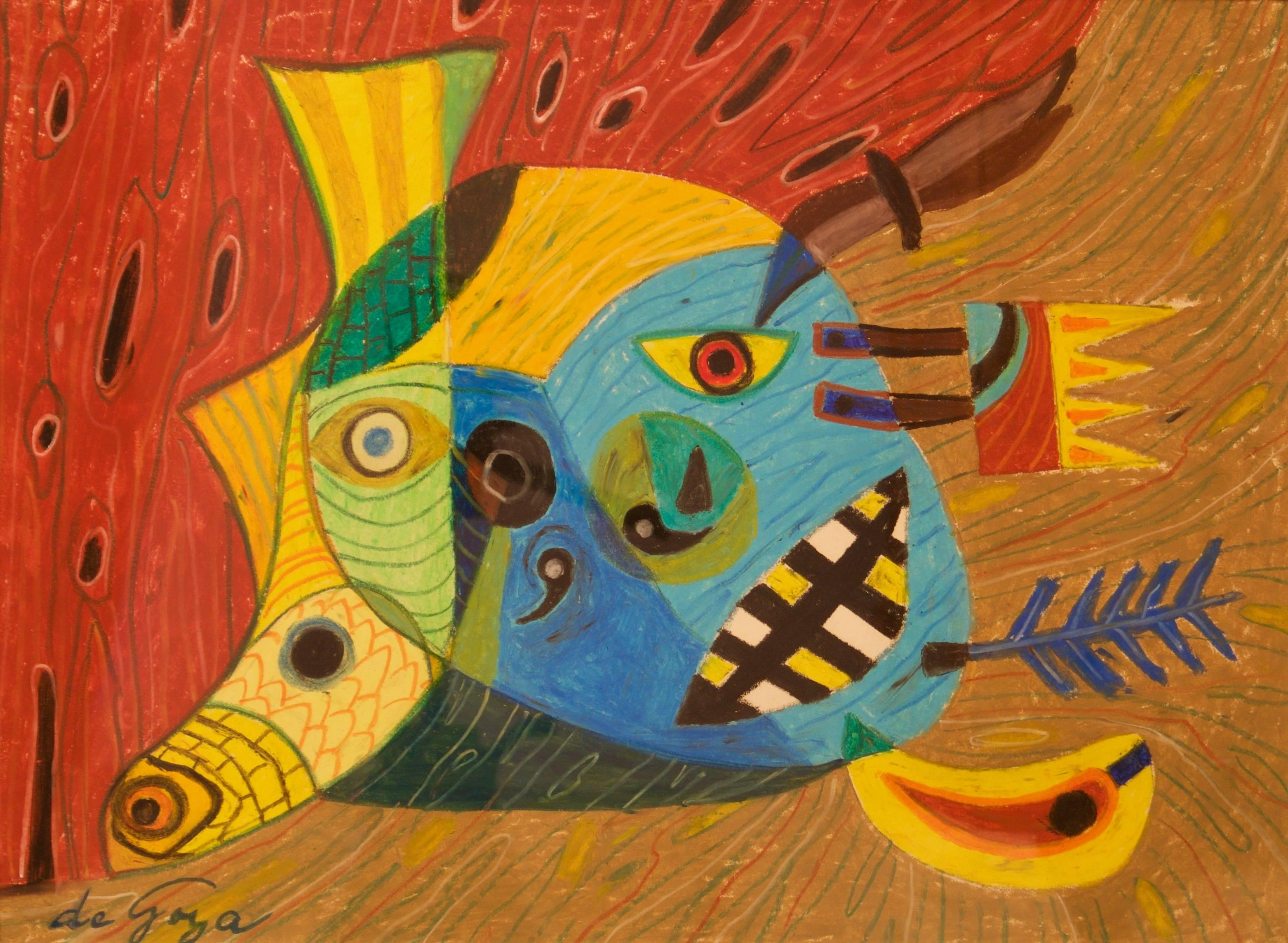Abstract Face - Mid 20th Century Mixed Media Piece by George De Goya