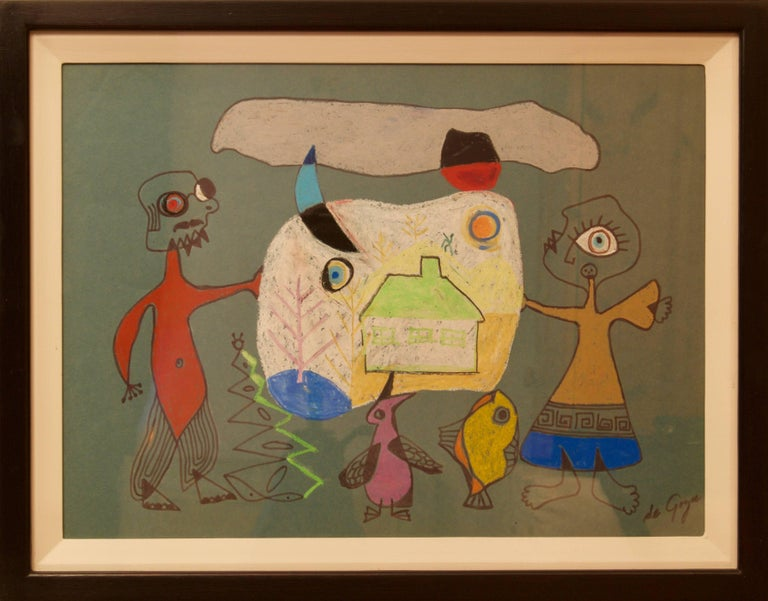 Abstract Man & Woman's Home - 20th Century Mixed Media by George De Goya For Sale 2