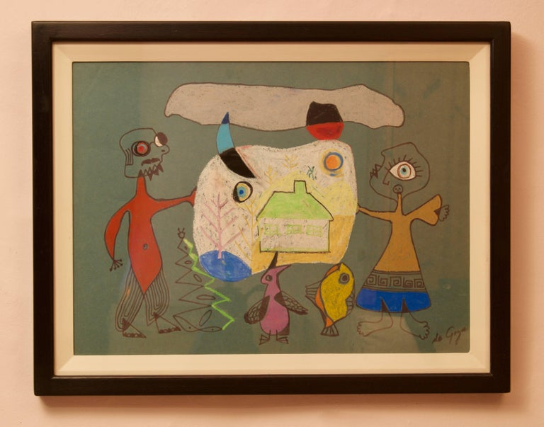 Abstract Man & Woman's Home - 20th Century Mixed Media by George De Goya For Sale 3
