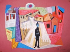 Abstract Policeman in Village - Mid 20th Century Mixed Media by George De Goya
