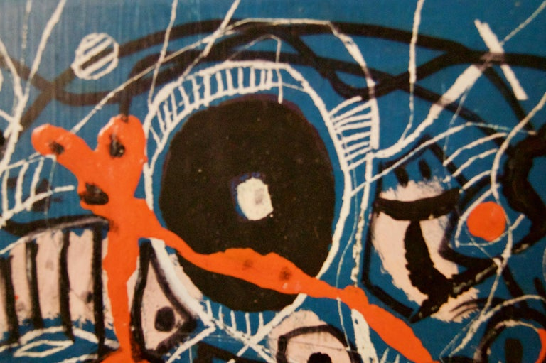 Blue Black and Orange - Mid 20th Century Oil on Wood Abstract by George De Goya For Sale 3