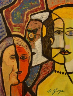 Family - Late 20th Century Mixed Media on Wood Abstract by George De Goya