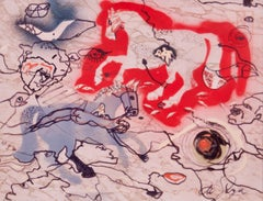 Long Chase - Late Mid 20th Century Abstract Mixed Media - Horses by De Goya