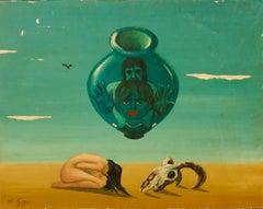 Mirage - Mid 20th Century Oil on Wood Abstract - Dalí Stye by George De Goya