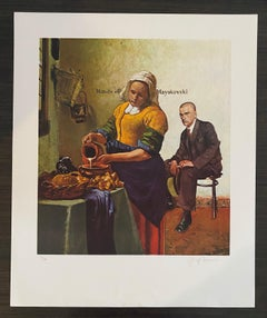 "American Artist Signed Color Lithograph Titled ""Hands Off Mayakovsky"""
