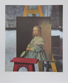 Dutch Portrait in Vermeer's Easel, Lithograph by George Deem