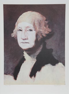 George Washington with Powder, Portrait Lithograph by George Deem