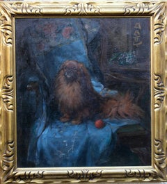 Pekingese - British Art Deco oil painting dog portrait interior animal artist