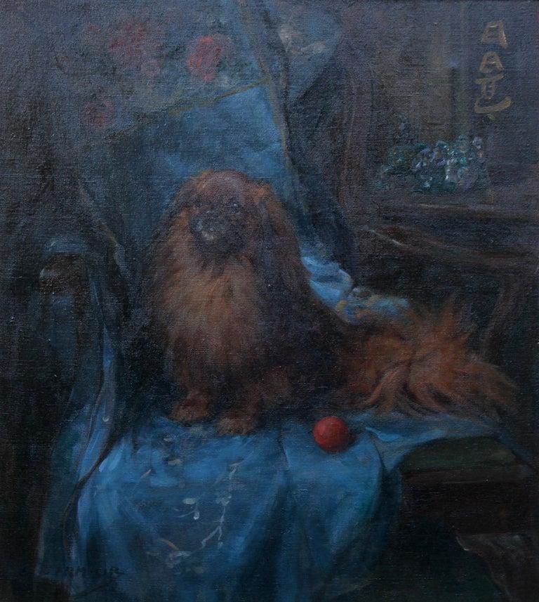 Pekingese  Portrait - British Art Deco oil painting dog interior animal artist For Sale 6
