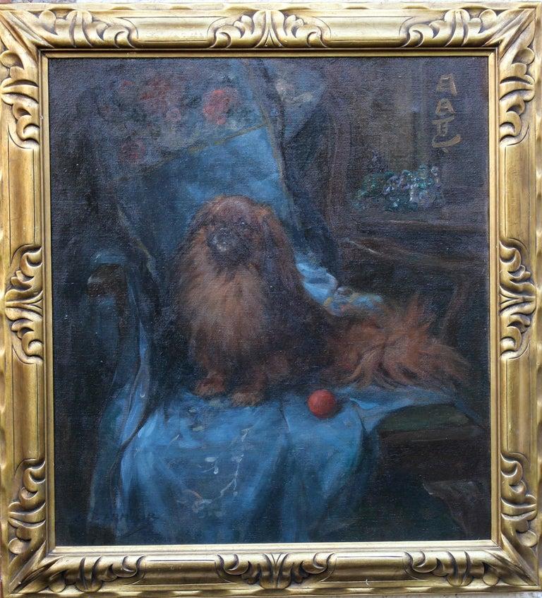 Pekingese  Portrait - British Art Deco oil painting dog interior animal artist For Sale 7