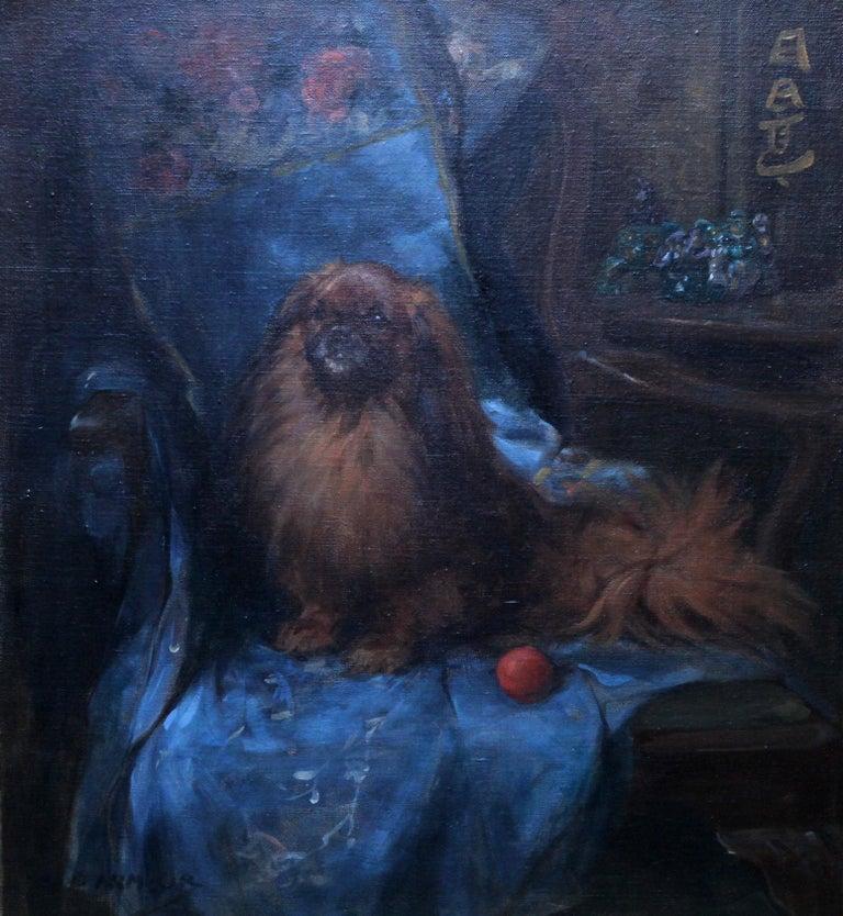 Pekingese  Portrait - British Art Deco oil painting dog interior animal artist - Black Animal Painting by George Denholm Armour