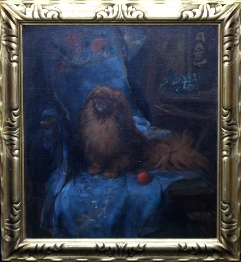 A beautiful British portrait of a Pekingese dog by George Denholm Armour. Dated to circa 1920, it is a superb Art Deco animal portrait with bold brush strokes and vibrant colour. The dogs name is, I believe, written in Japanese top right.  Signed