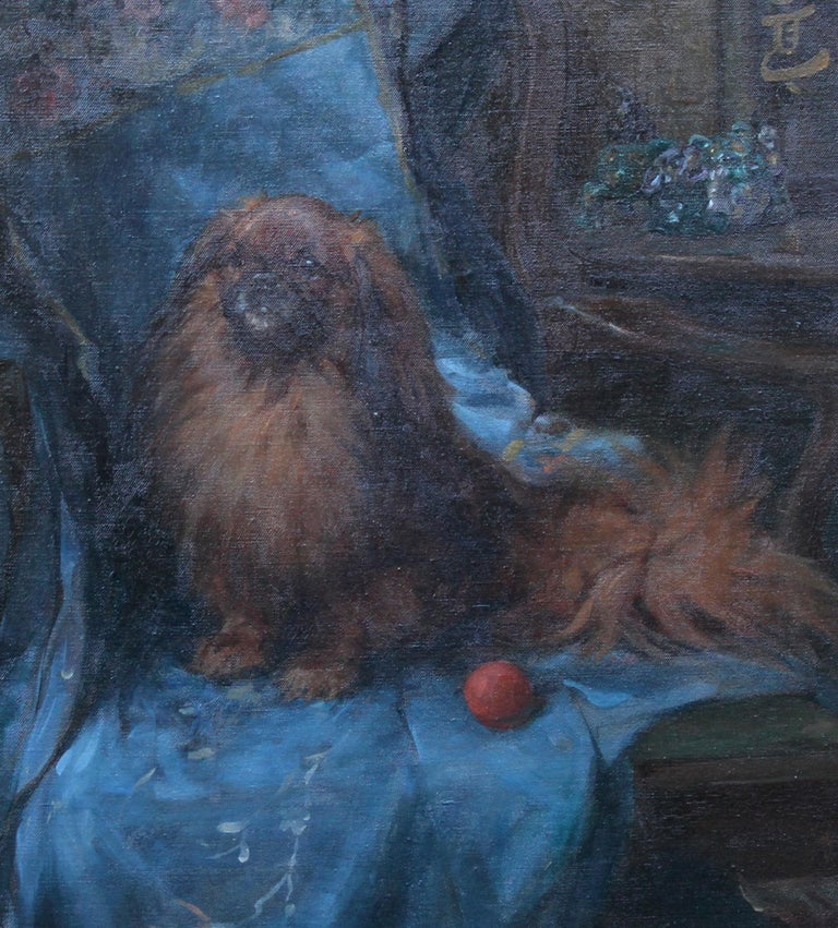Pekingese  Portrait - British Art Deco oil painting dog interior animal artist For Sale 1
