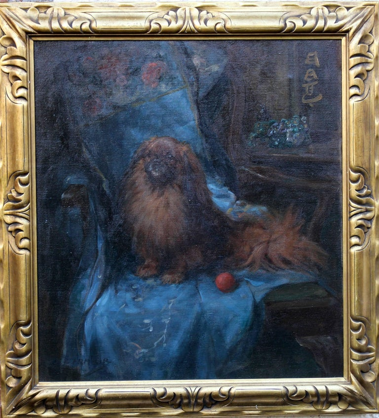 George Denholm Armour Animal Painting - Pekingese  Portrait - British Art Deco oil painting dog interior animal artist