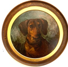 English Victorian 19th century portrait of a brown Dachshund dog or sausage dog