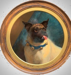 English Victorian 19th century portrait of a Pug dog with a blue bell collar
