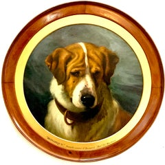 English Victorian 19th century portrait of a smooth coated St.Bernard dog