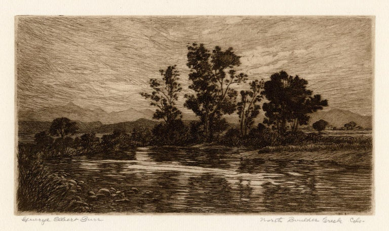 George Elbert Burr Landscape Print - North Boulder Creek, Colorado —Southwest Impressionism