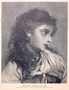 Woman - Original Zincography by G.E. Hicks - 1877