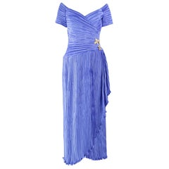 George F Couture Vintage Fortuny Pleated Blue Evening Dress