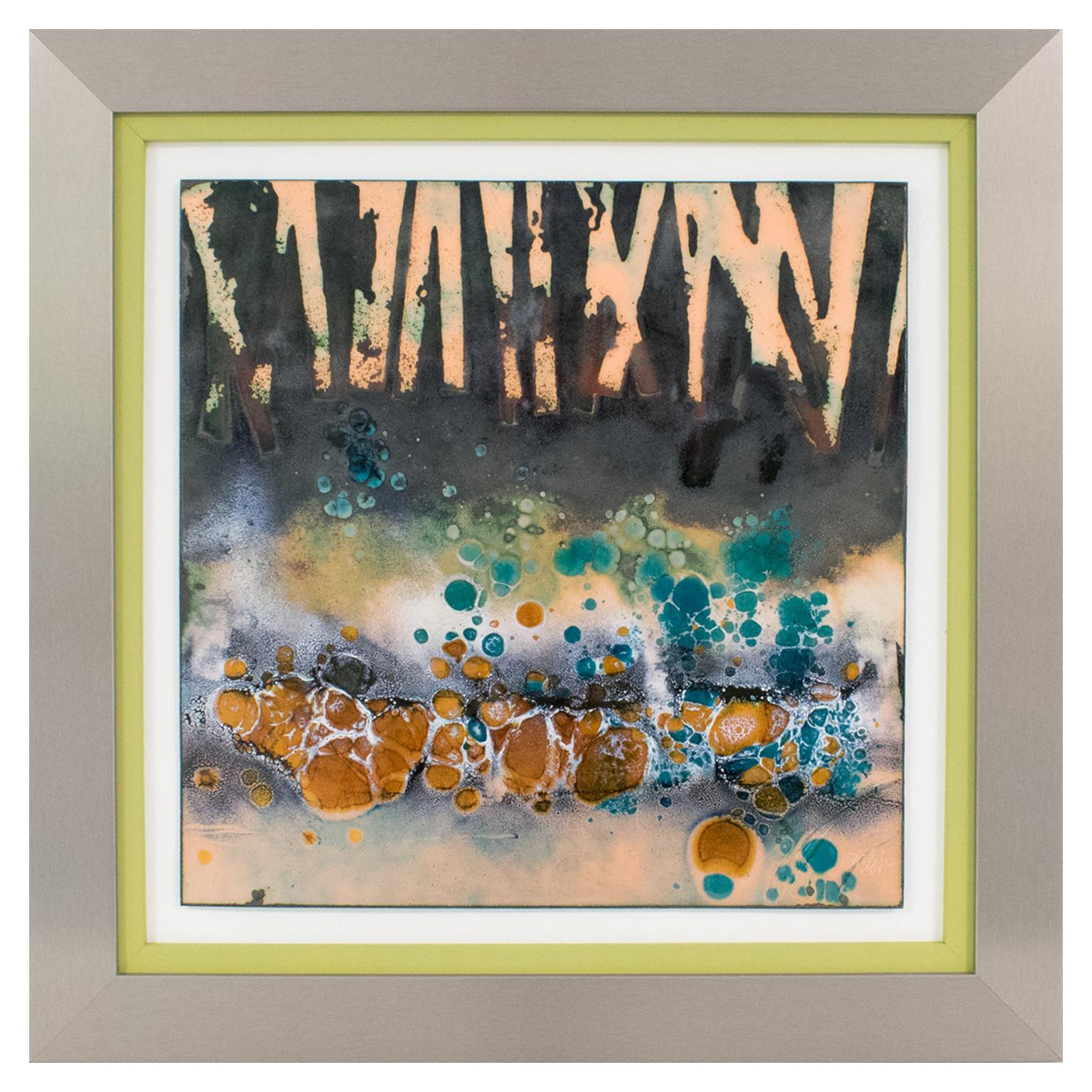 George F Welch Abstract Judaica Artwork Enamel Panel Painting